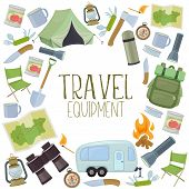 Set Of Travel Equipment. Accessories For Camping And Camps. Colorful Cartoon Illustration Of Camping poster