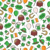 St Patricks Day Irish Seamless Pattern. poster