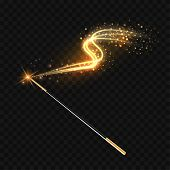 Magic Wand With Magical Gold Sparkle Trail On Transparent Background. Vector Illustration poster