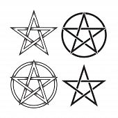 Set Of Pentagram Or Pentalpha Or Pentangle. Hand Drawn Dot Work Ancient Pagan Symbol Of Five-pointed poster
