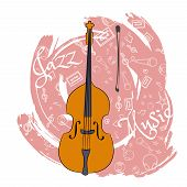 A Cello. Stringed Musical Instrument. Jazz Instruments, On An Abstraction Pink Background. With Addi poster