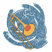 Trombone. A Musical Musical Instrument. Jazz Instruments, On An Abstract Gray Background. With Addit poster