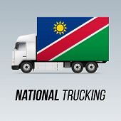 Symbol Of National Delivery Truck With Flag Of Namibia. National Trucking Icon And Namibian Flag poster