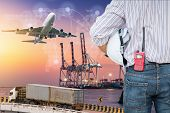 Heavy Industry Of Cargo Ship Terminal And Logistics Transportation., Air Freight, Sea Freight, Busin poster