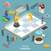 Flat Isometric Vector Concept Of Pricing Strategy, Value And Price Balance, Product Quality. poster