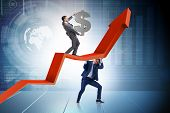 Businessman supporting growtn in economy on chart graph poster