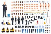Cleaning Service Worker Creation Set Or Constructor. Bundle Of Janitor Body Parts, Gestures, Uniform poster