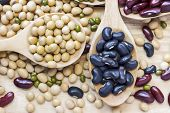 Many Types Of Beans Are Separated In A Spoon On A Wood Table Such As Mung Bean, Soybean, Black Bean, poster