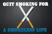 Leave The Cigarette For A Smoke-free Life, Slogan Brochure Studies, Nice And Meaningful Images To Qu poster