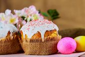 Easter Bread And Eggs With Apple Blossom Easter Cake - Traditional Orthodox Christian Kulich poster