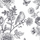 Garden Flowers Roses, Peonies And Dog Rose, Bird And Butterflies. Floral Vintage Seamless Pattern. B poster