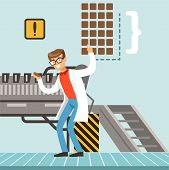 Hocolate Factory Production Line, Male Confectioner Controlling The Production Process Vector Illust poster