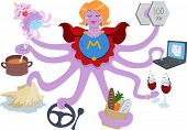 image of superwoman  - A Vector Illustration of an octopus mother dressed as a superhero and doing actions such as lifting weights - JPG
