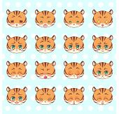 Emoticons, Emoji, Smiley Set, Colorful Sweet Kitty Little Cute Kawaii Anime Cartoon Tiger Different poster
