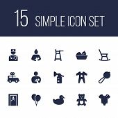 Set Of 15 Baby Icons Set. Collection Of Clockwork Car, Infant, Romper And Other Elements. poster