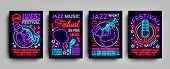 Jazz Festival Posters Neon Collection. Neon Sign, Neon Style Brochure, Design Invitation Template Fo poster
