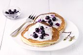 Pancakes Topped With Cream Cheese Honey And Blueberries On Plate White Background Homemade Tasty Pan poster