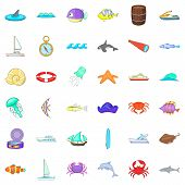 Nautical Icons Set. Cartoon Set Of 36 Nautical Vector Icons For Web Isolated On White Background poster