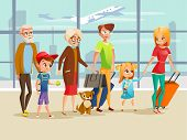 Family Travel In Airport Vector Illustration. Family Kids, Parents Or Grandparents And Pet Dog With  poster