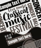 Vector Banner For A Music Festival With The Inscriptions Live Music Classical Music, Guitar And Plac poster