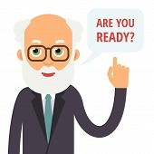 Teacher Speak. Professor Speaking A Question. Elderly Teacher With Glasses Lifting His Thumbs Up Ask poster