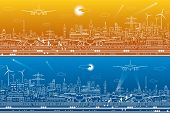 Airport Panorama Set. Passengers Go To The Airplane. Aviation Travel Transportation Infrastructure.  poster