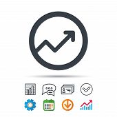 Growing Graph Icon. Business Analytics Chart Symbol. Statistics Chart, Chat Speech Bubble And Contac poster