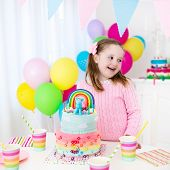 Kids Birthday Party With Cake poster