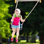 Child Playing On Outdoor Playground In Summer poster