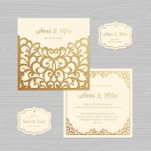 Wedding Invitation Or Greeting Card With Vintage Ornament. Paper Lace Envelope Template. Wedding Inv poster