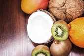 Citrus Fruits On A Wooden Background poster