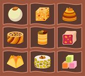 Collection Of East Delicious Dessert Sweets Food Confectionery Homemade Assortment Vector Illustrati poster