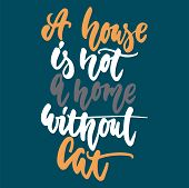 A House Is Not A Home Without Cat - Hand Drawn Lettering Phrase For Animal Lovers On The Dark Blue B poster