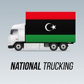 Symbol Of National Delivery Truck With Flag Of Libya. National Trucking Icon And Libyan Flag poster