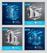 Office Buildings Brochures Set, Modern Architecture Vector Flyers With Blurred Lights And Glares Eff poster