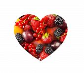 Berries In Heart Shape Isolated On A White. Heart Shape Assorted Berries And Fruits On White Backgro poster