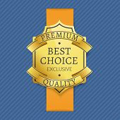 Premium Best Choice Exclusive Quality Golden Label Award Emblem Isolated On Blue Background. Vector  poster