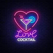 Cocktail Logo In Neon Style. Love Cocktail. Neon Sign, Design Template For Drinks, Alcoholic Beverag poster