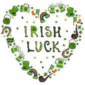 Collection Of Irish Symbols. Irish Luck Lettering. Heart Shape Background. Leprechauns Hat, Horsesho poster