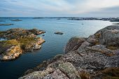 Sea Landscape With Yachts And Rocky Coastline On The South Of Sweden At Sunrise. Southern Coastline  poster