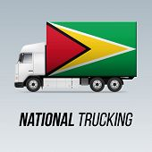 Symbol Of National Delivery Truck With Flag Of Guyana. National Trucking Icon And Guyanese Flag poster