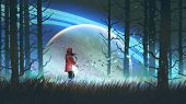 Night Scenery Of Young Woman Playing A Magic Guitar In The Forest Against Glowing Planet On Backgrou poster