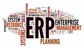 Enterprise Resource Planning System ERP in word tag cloud