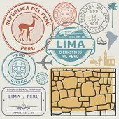 Travel Stamps Or Symbols Set Peru, South America Theme, Vector Illustration poster