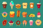 Funny Fast Food Comic Characters Sett, Ice Cream, Coffee, Hot Dog, Pizza, French Fries, Toast, Burge poster