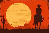Silhouette Of Lonesome Cowboy Riding Horse At Sunset, Vector Illustration poster