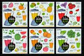 Healthy Juice Detox Smoothie Receipes Set. With Illustration Of Ingredients, Glass, Stars, Hearts An poster