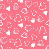 Tender Seamless Pattern With Cute Grunge White Scribbled Hearts On Pink Background. Lovely Doodle Te poster