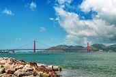 Golden Gate Bridge Day Landscape, San Francisco. Panoramic View Of Golden Gate Brige In San Francisc poster