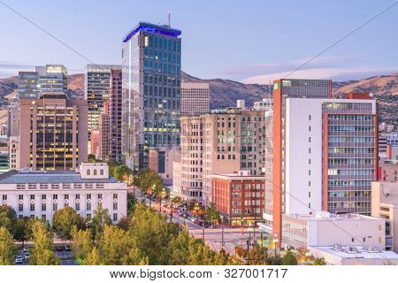 poster of Salt Lake City, Utah, USA downtown financial district cityscape at twilight.